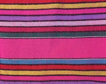 Ethnic Mexican Colorful Bright Pink Striped Fabric Yard Cambaya