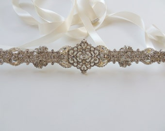Julia Bridal Wedding Dress Rhinestone Crystal Embellished Belt Sash Vintage Wedding Art Deco