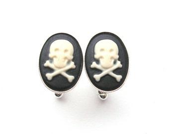 Skull Cufflinks in Black and White, Zombie Cufflinks, Skull and Crossbones, Pirate Wedding Cufflinks, Silver Cufflinks, Cameo Cufflinks