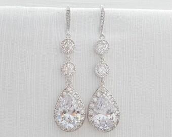 Crystal Teardrop Bridal Earrings Wedding Jewelry Long Wedding Earrings Silver Large Cubic Zirconia Dangle Earrings Bridal Jewelry, Eyra