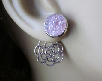 Lavender Flower Ear Jackets Lavender Stud Earrings Silver Filigree Flower Rosebud Earrings Pink Flower Reverse Earrings Fashion Forward Stud