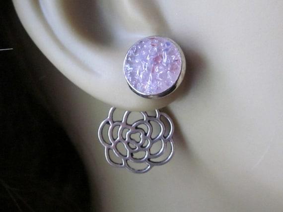 Lavender Flower Ear Jackets Lavender Stud Earrings Silver Filigree Flower Rosebud Earrings Pink Flower Reverse Earrings Fashion Forward Stud