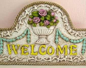 Welcome Vintage Hand Painted Resin Wall Plaque