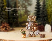 Tiny Robot #38 - Handcrafted Miniature Polymer Clay Robot Figurine with Watering Can, Flower Pot -Rusted Silver and Iron Oxide Patina Finish