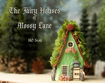 The Fairy Houses of Mossy Lane - Handcrafted Chalet Style Cottage in Mint Green w/ Mossy Roof, Flower Boxes and Wooden Door
