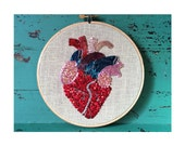 Anatomical Heart, Unique Valentines Gift, Embroidery Hoop Art, Beaded Heart, Unusual Valentine