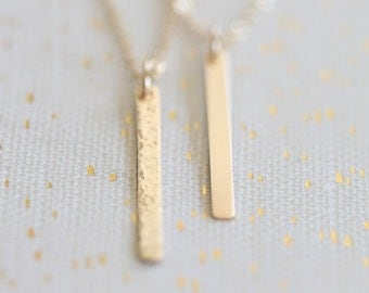 Long Gold Bar Pendant Necklace, Vertical Skinny Bar, Layering Minimalist Hammered or Smooth, 14k Gold Filled or Sterling Silver
