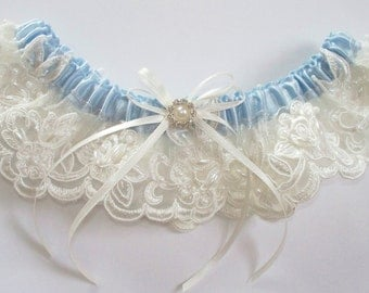 Ivory Wedding Garter with Bow and Rhinestone and Pearl Detail - The LIZ Garter