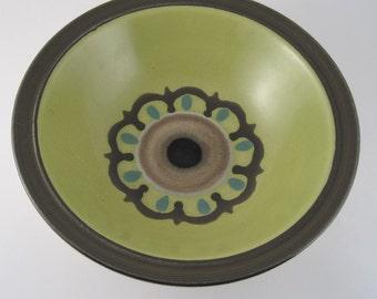 Stoneware bowl - ceramic serving bowl - Electra Casual Ceram Ondine bowl - 70's stoneware - 70s kitchen - avocado green bowl