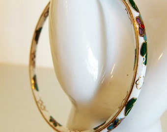Pretty Vintage White Cloisonne Enamel Bangle Bracelet
