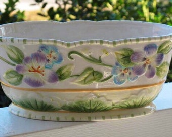 Fitz and Floyd Halycon Oval Oblong Vegetable Dish English Garden Retired Planter Discontinued Flowers Rabbits Pattern Rare Collectible