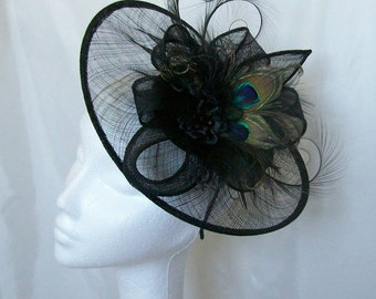 Black Peacock Feather Lavinia Sinamay Saucer Pheasant Curl Feather Loop & Pearl Crystal Fascinator Saucer Hat - Made to Order