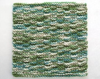 Knit Dishcloth, Cotton Washcloth, Hand Knit Dishcloth, Knitted Washcloth, Blue Green Dishcloth