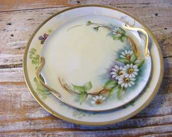 Vintage Porcelain Hand Painted Daisy Pattern Decorative Plates Germany Prussia
