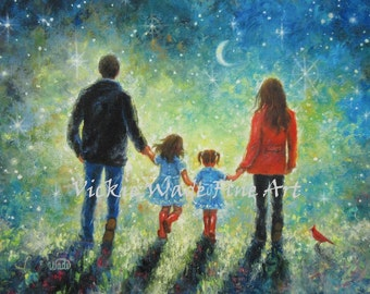 Mom Dad Two Daughters Art Print, family painting, evening walk, father, mother, two sisters, two girls, starry night, wall art, Vickie Wade