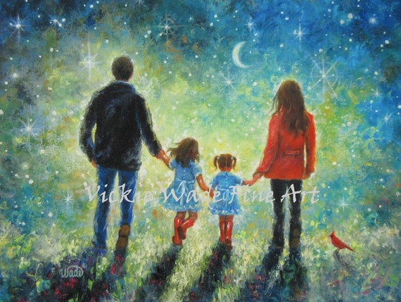 Mom Dad Two Daughters Art Print Family Painting Evening