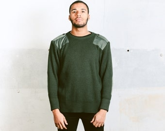 Forest Green MILITARY Sweater . Men's Vintage 90s Sweater Acrylic Army Ribbed Knit 1980s Wool Sweater Elbow Patches . size Large