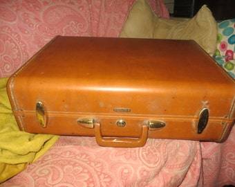 Vintage 1940's - 50's  snyders bros   Samsonite Carmel Color Suitcase / Luggage