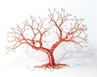 green beads copper wire minimal art tree of life statue, miniature wire art tree sculpture, minimalistic whimsical home decoration