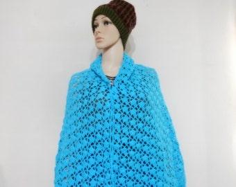 Crochet Shawl in Light Blue