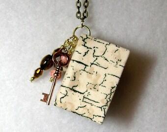 Book Necklace - Book Jewelry - Book Pendant - Book Journal - Handmade Book - Antique Fabric - BN-30