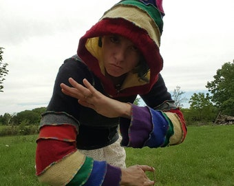 Rainbow Grey Recycled Sweater Hoodie with pouch pocket Size Small