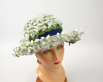 1960s Blue Floral Hat - Wide brimmed Hat - Large Floral Hat - Light Blue 60s - Marshall Field and Company