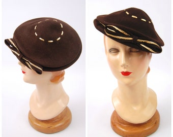 1940s Chocolate Brown and Gold Hat - Tilt hat - Made in USA