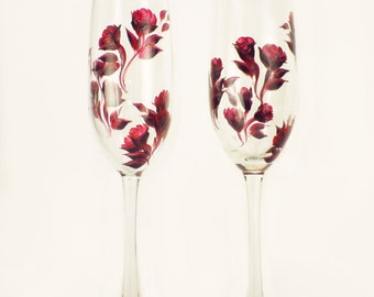 Bridesmaids' Champagne Glasses - Personalized with Hand-Painted Roses, Set of 5 - Bachelorette Gift Wedding Party Gifts Champagne Flutes