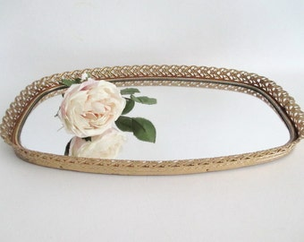 Large Mirrored Vanity Tray Brass Floral Filigree Frame