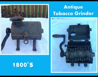 Antique Cast Iron Tobacco Grinder, 1800's, Weighs 16 Lbs., Crank, Counter Mount, Country Store