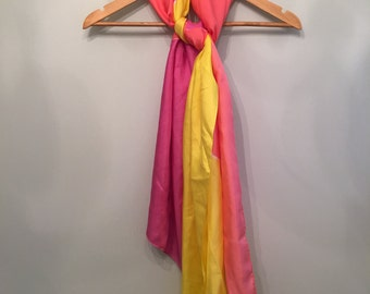 X Large Silk Long Scarf • Colorful Abstract Print Scarf • Necktie • Neck Scarf