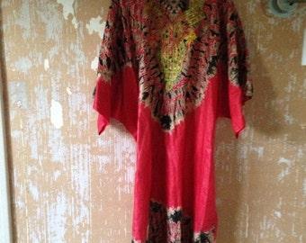 ON SALE Vintage Moroccan Dress • 1970s Kaftan Dress • Free Size Dress • 70s Red Dress • Long Dress • 70s bohemian Dress • Caftan Dress