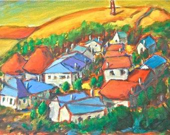 O Cebreiro -Camino de Santiago, Village Landscape, Spain Art Print, Whimsical Houses, Galicia, Orange, Way of St James, For Hiker, Pilgrim
