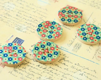 Set 5 LIGHT BLUE Craft Ideas Flower Printed Wood round buttons