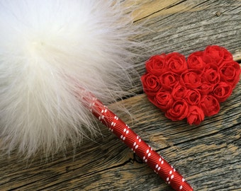 Feather Pen - Guest Book Pen - Wedding Pen - Refillable Ink - Red & White - Marabou Feathers - Valentine's Day - Christmas