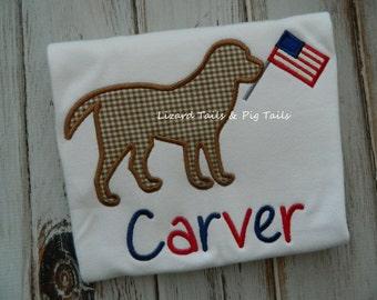 4th of July Dog Shirt - Boy and Dog Flag Shirt - Patriotic Dog - 4th of July Boy Girl Shirt