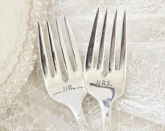 Mr. and Mrs. Wedding Forks, Hand Stamped Mr. Mrs. Fork Set, Vintage Wedding Cake Forks, First Love 1937 Mr. and Mrs. Forks Bridal Silverware