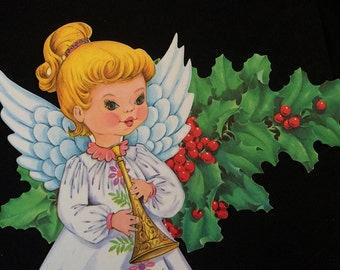 Christmas Die Cut- Decoration- Wall Hanging- BLOND Angel- Holly Berries- Unpunched- Vintage Window- Crafts Repurpose- Gift- Collectible-