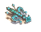 Victorian Brooch, Fleur De Lis, Silver and Turquoise, 1800's