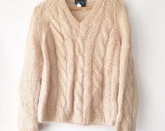 Mohair sweater Cable Knit Handmade vintage ITALY Small Chunky Cable Knit