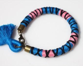Textile Wrapped Bracelet - Textile Bracelet - Friendship Bracelet - Teen Bracelet - Fabric Bracelet - Tassel Bracelet- Beach Bracelet