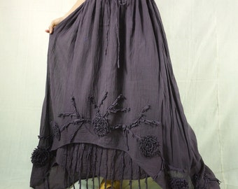 Plus Size Funky Boho Gpysy Hippie Floral Applique Deep Plum Double Layer Light Cotton skirt Size 8 To Size 22