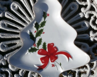 Christmas Tree Tray or Dish, Japan Made, Holly Leaf Design, Vintage Porcelain