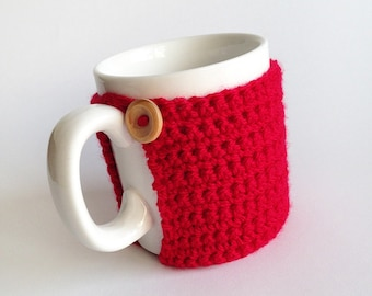 Mug Cozy, Crochet Mug Cosy With Built in Coaster in Red