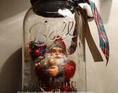 Santa Snowglobe Primitive Mason Jar Snow Globe with Santa & sparkly snow