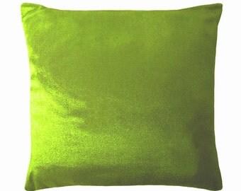 """SALE! Silk & Linen Throw Pillow Cover, Green Linen Pillows, 18"""" x 18"""" Pillow Cushions, Toss Pillows, Summer Home Decor, Modern Home Decor"""