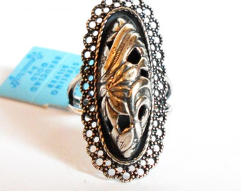 Sterling Art Nouveau Floral Dome Ring