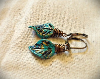 Small Leaf Earrings, Blue Leaves, Leaf Jewelry, Patina, Verdigree, Antiqued Brass, Wire Wrapped, Spring Jewelry, Everyday Wear