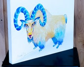 Bighorn Big Horn Sheep Mountain Goat Original Acrylic Painting